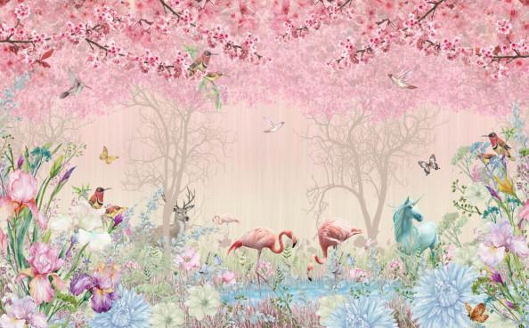 Фотообои фламинго в сказочном лесу