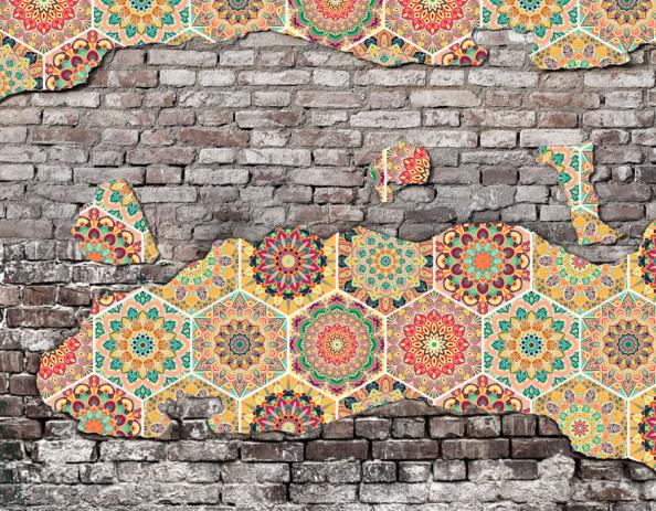 Фотообои Кирпичная стена с узором в восточном стиле