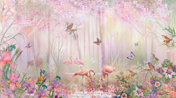 Фотообои Розовые фламинго в сказачном лесу