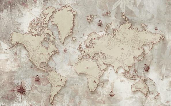Фотообои в кабинет, карта мира