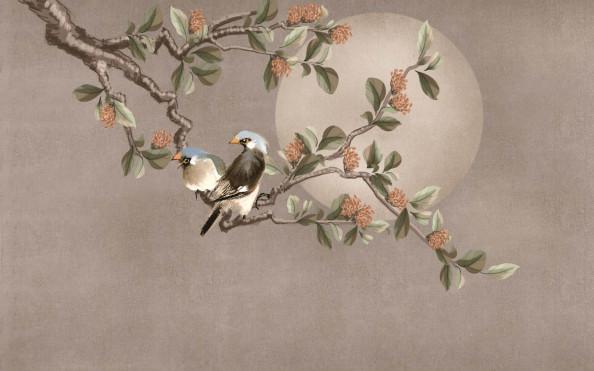 Фотообои луна и птицы