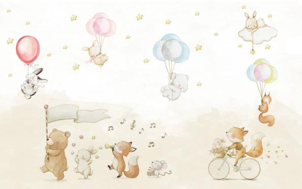 Фотообои Животные с воздушными шариками