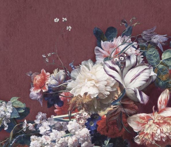 Фотообои Винтажные цветы и стена бордо