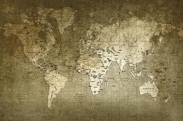 Фотообои Золотистая карта мира