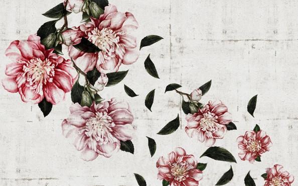 Фотообои Винтажные цветы на фоне стены