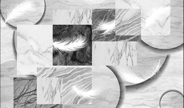 Фотообои  Мрамор и перья