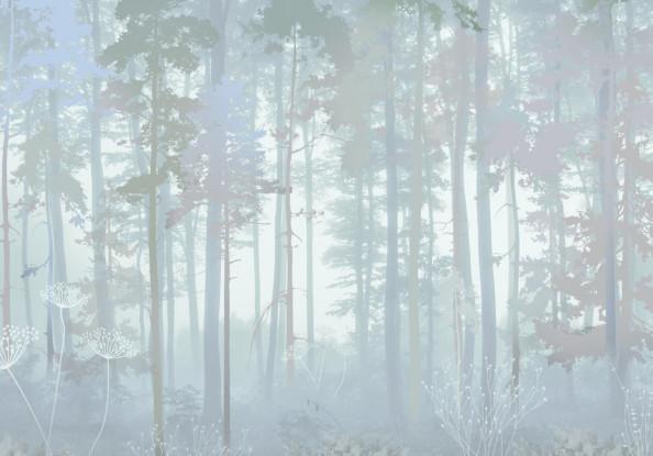Фотообои Голубые векторные деревья