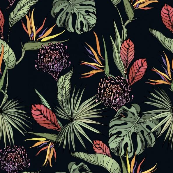 Фотообои Листья джунглей на черном фоне