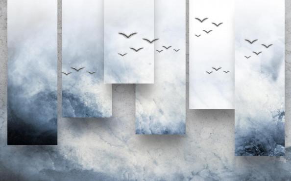 Фотообои 3d волна с птицами