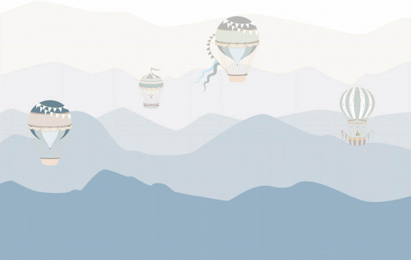 Фотообои горы и воздушные шары
