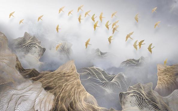 Фотообои Золотые птицы