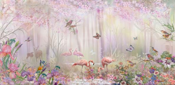 Фотообои с фламинго в сказочном лесу
