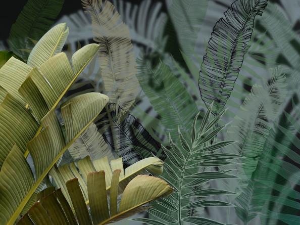Фотообои Дизайнерские тропические листья тёмные