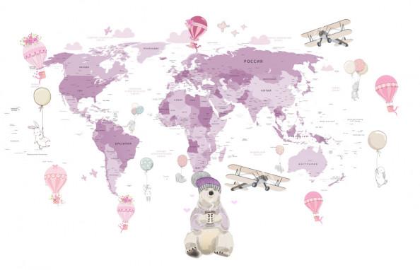 Фотообои Десткая  розовая карта