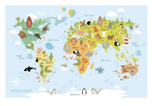 Фотообои Детская карта мира для развития
