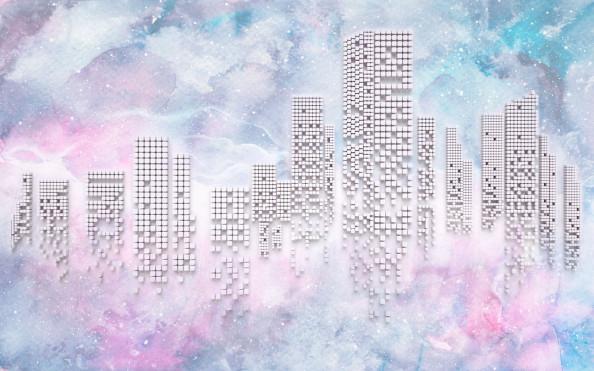 Фотообои Розовые высотки