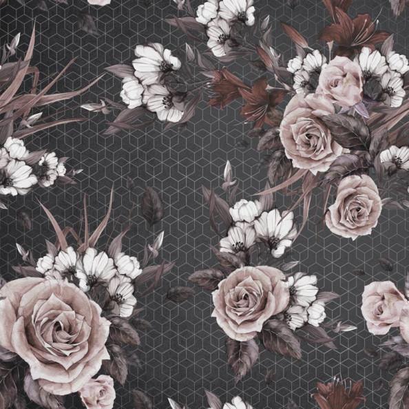 Фотообои Красочные цветы с темным геометрическим рисунком