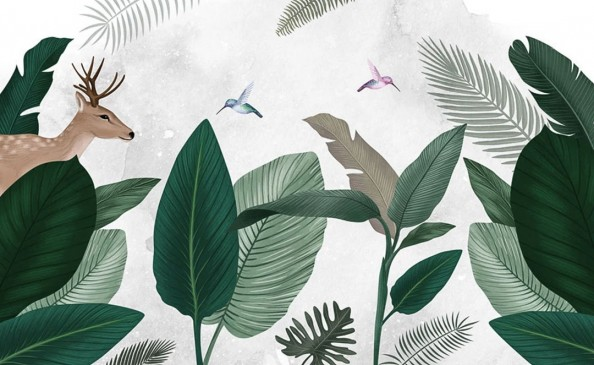 Фотообои Животные и тропические листья