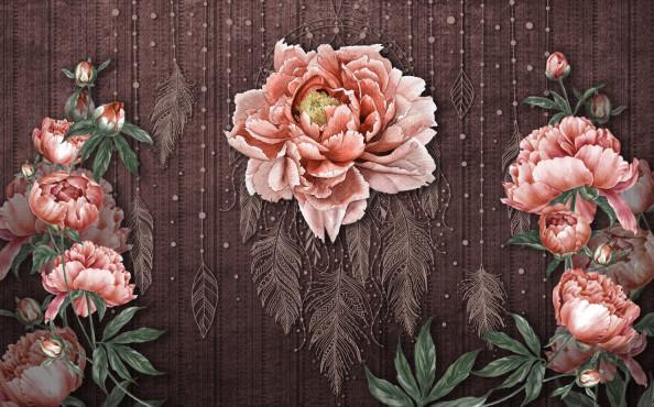 Фотообои Пионы с перьями в восточном стиле