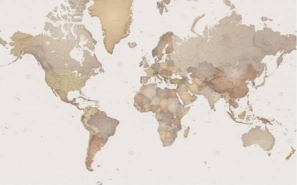 Фотообои Подробная карта мира