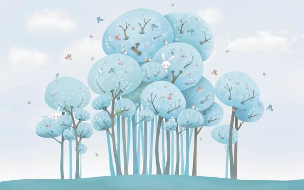 Фотообои голубые деревья