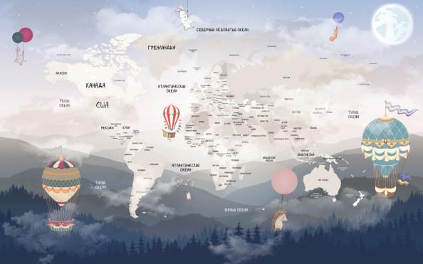 Фотообои  Карта детская на фоне гор