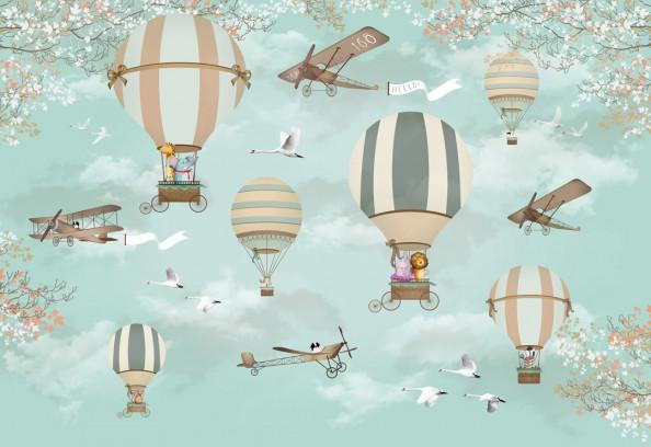 Фотообои Воздушные шары и самолеты