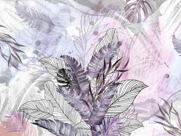 Фотообои акварельные листья