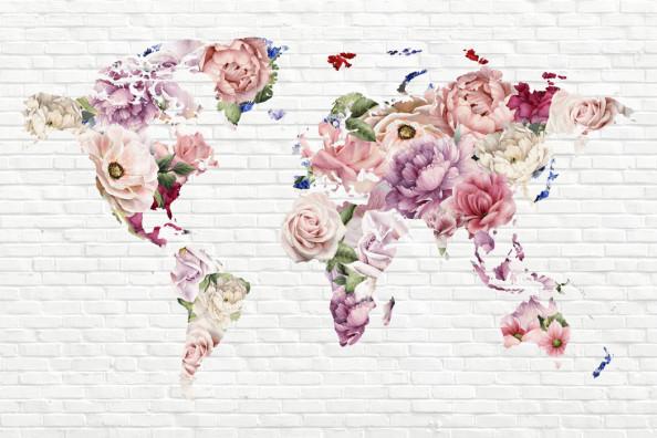 Фотообои Яркие цветы в форме карты