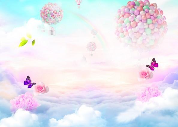 Фотообои Воздушные шарики и розы