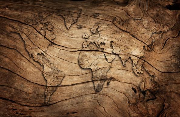 Фотообои Карта на деревянной текстуре