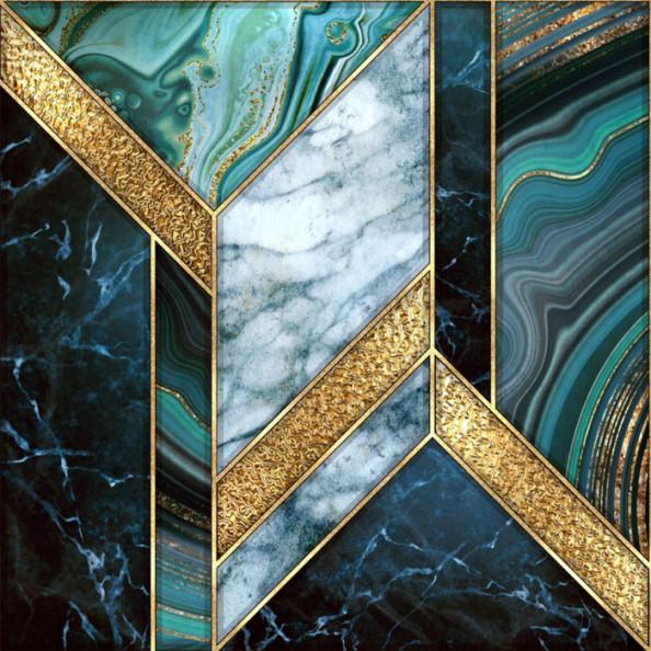 Фотообои Геометрия из мраморного узора с золотом