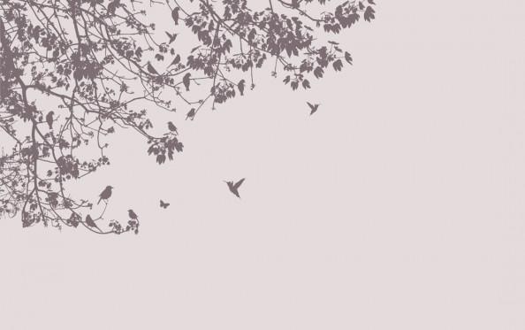Фотообои Колибои, векторное дерево