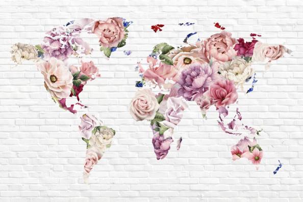 Фотообои Карта мира из цветов