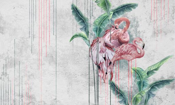 Фотообои Фламинго, листья на светлом фоне