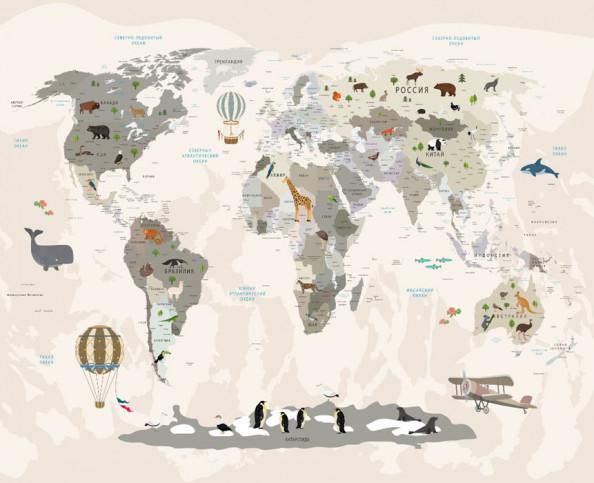 Фотообои  Бежевая детская карта