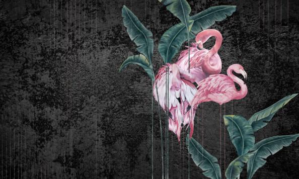 Фотообои Розовые фламинго на чёрном фоне