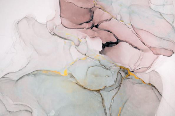 Фотообои Флюид Арт розовый с золотом