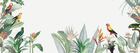 Фотообои Тропические листья с птичками