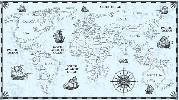 Фотообои векторная карта мира