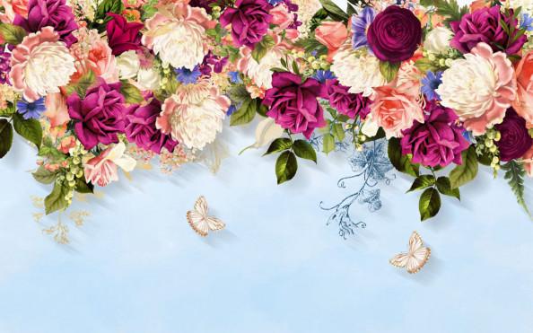 Фотообои Яркие цветы с потолка
