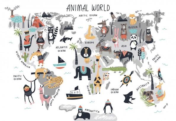 Фотообои Детская карта мира с животными