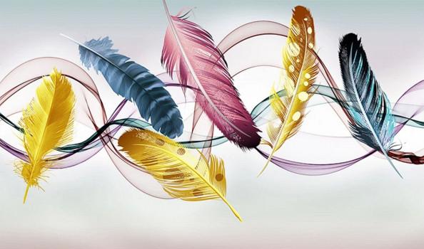 Фотообои Векторные золотистые перья, векторные линии