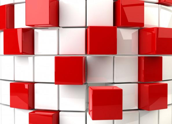 Фотообои красные кубы