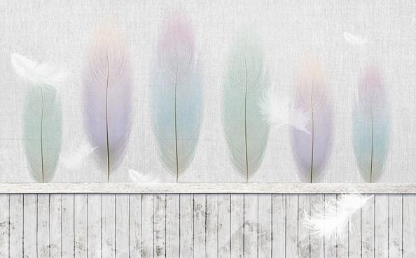 Фотообои Нежные перья на холсте