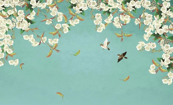 Фотообои Ветка сакуры и птички