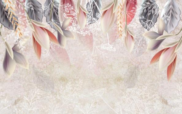 Фотообои Цветы с листиками
