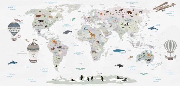 Фотообои карта мира на светлом фоне