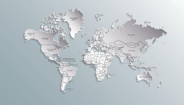 Фотообои Карта Мира в серых оттенках