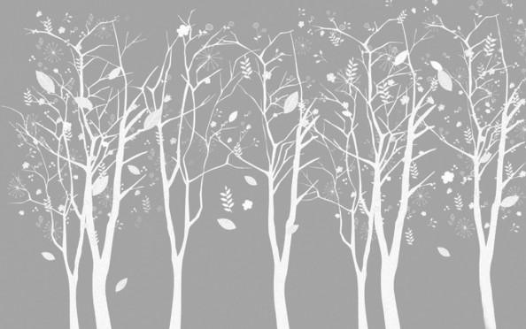Фотообои Векторные деревья на сером фоне